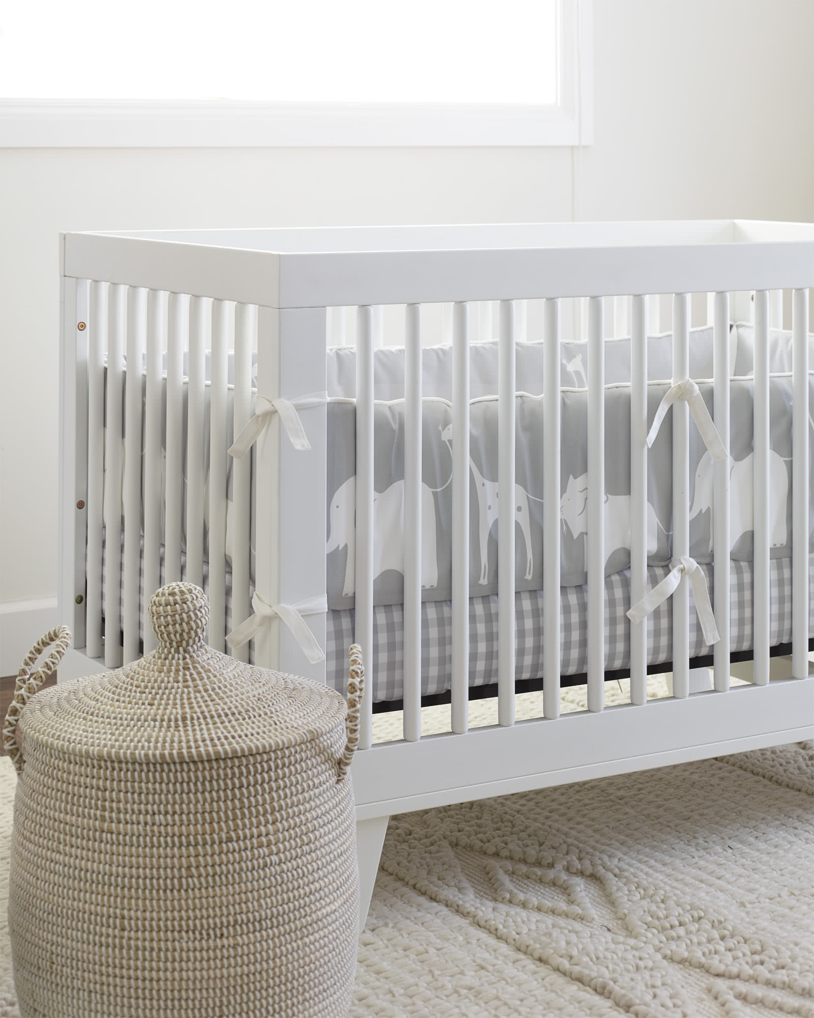 Gingham Crib Sheet, Fog