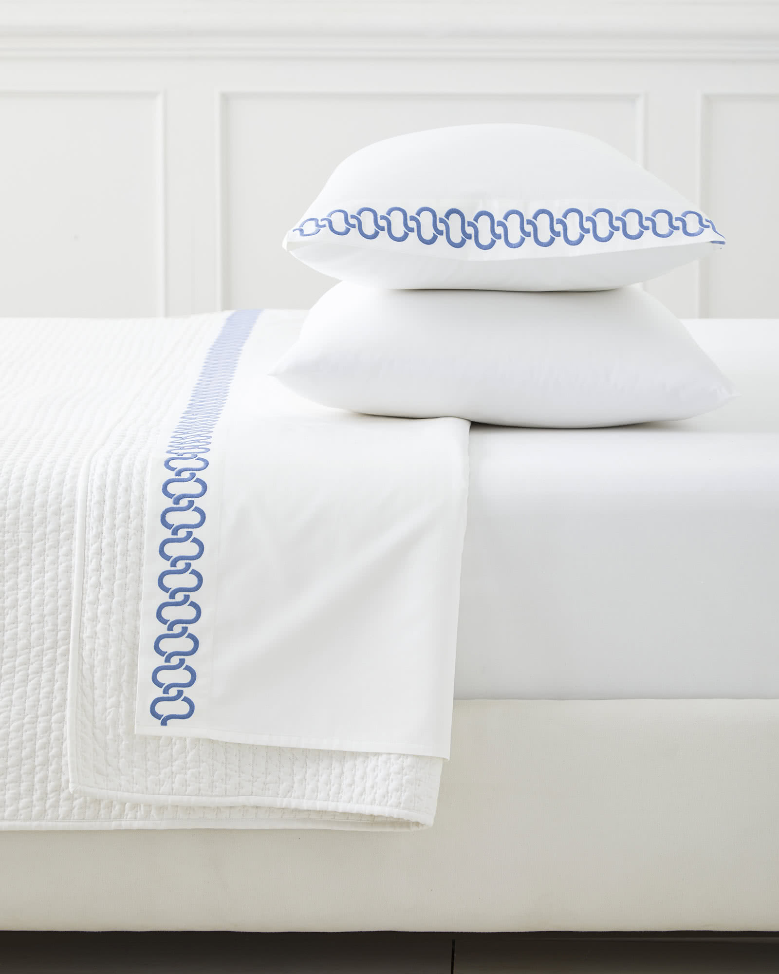 Savoy Embroidered Pillowcases (Extra Set of 2), French Blue