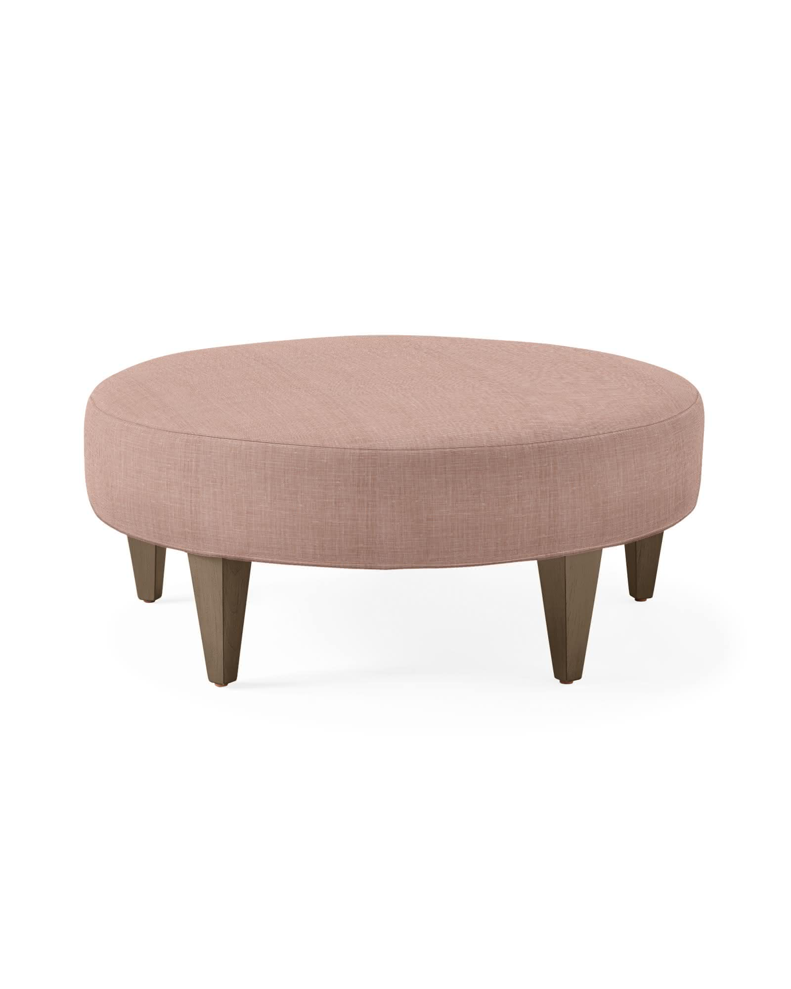 Round Chelsea Ottoman - Blush Washed Linen,