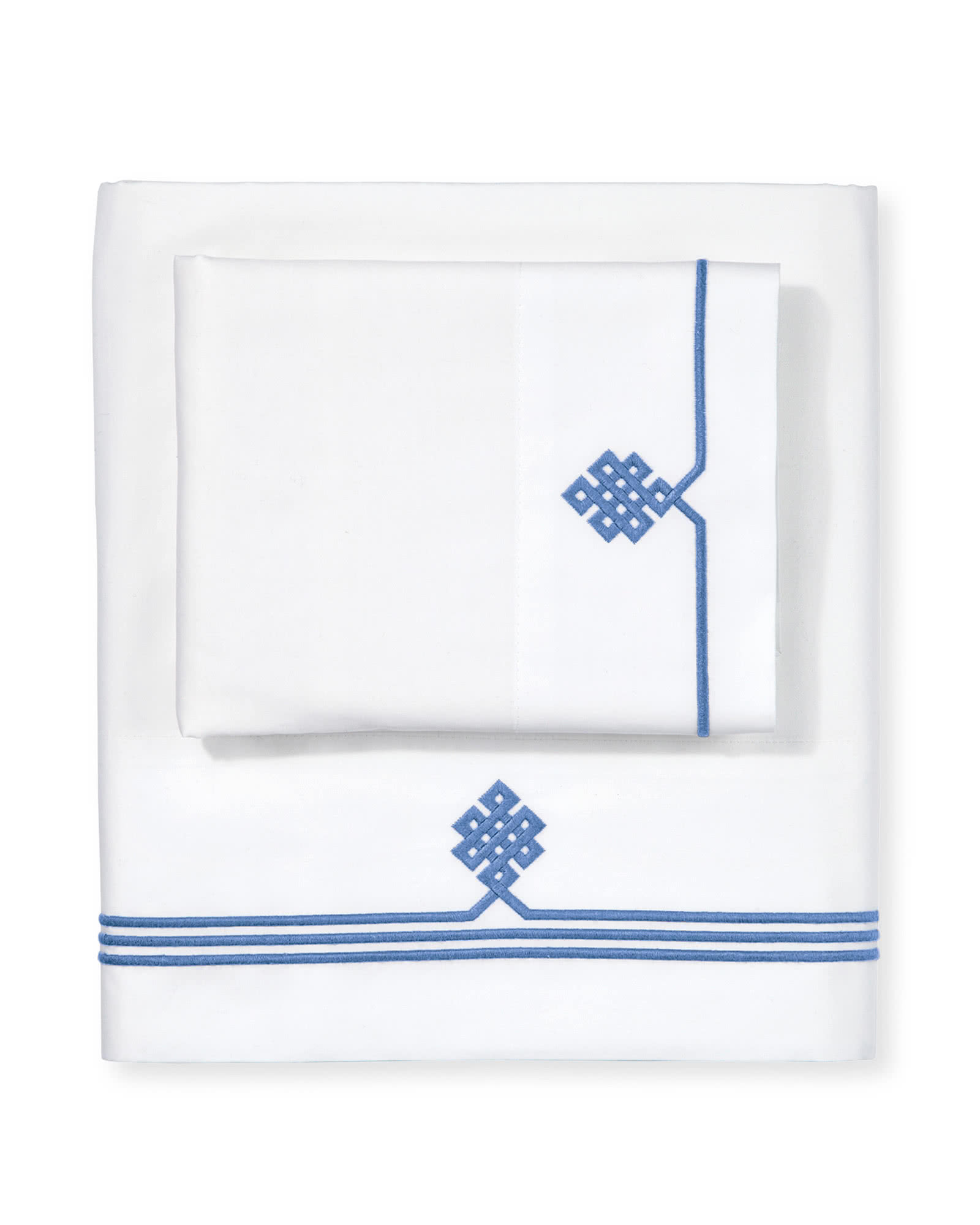 Gobi Embroidered Sheet Set, French Blue