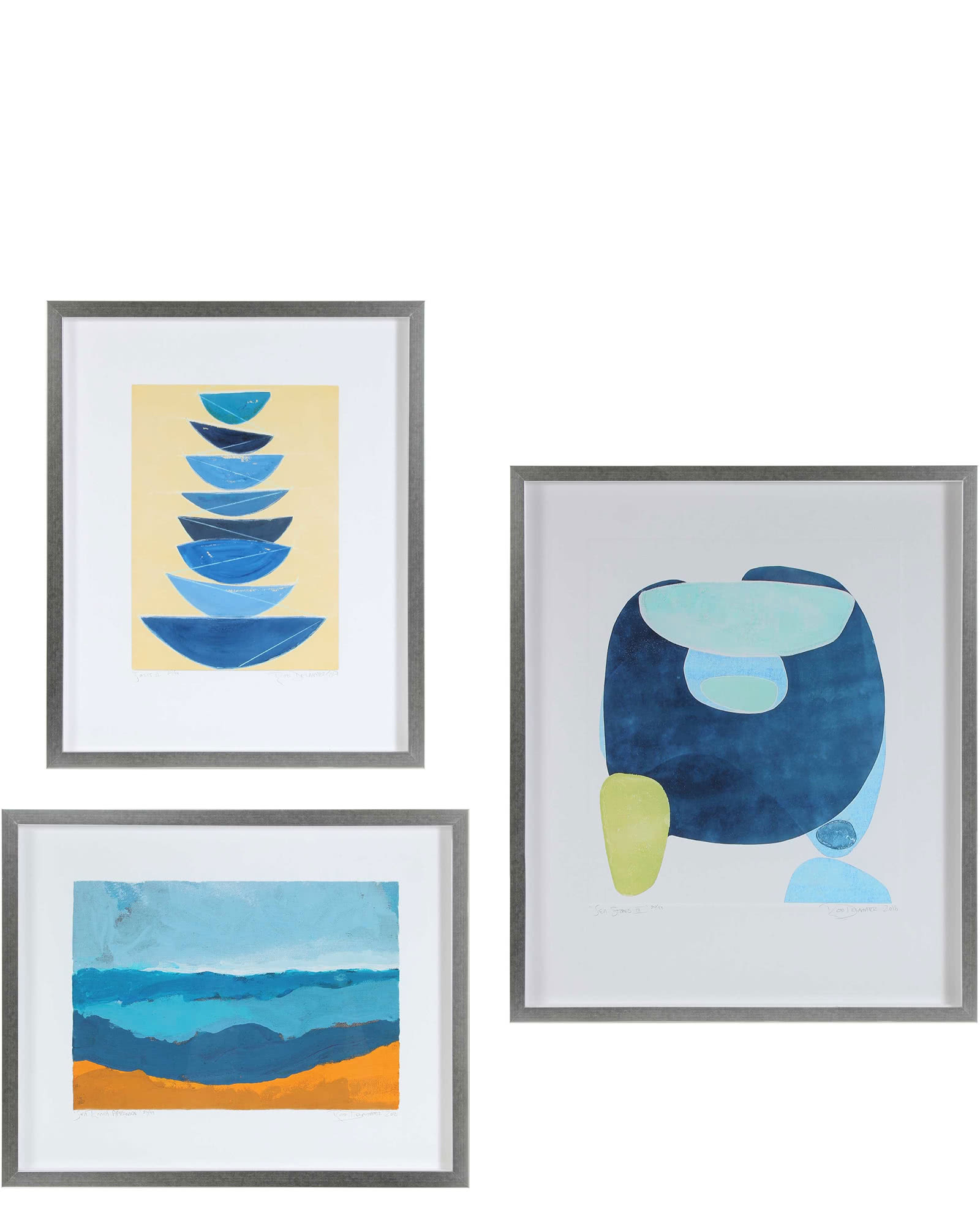 """Gallery Wall, 3 Seascape Abstractions"" by Rob Delamater,"