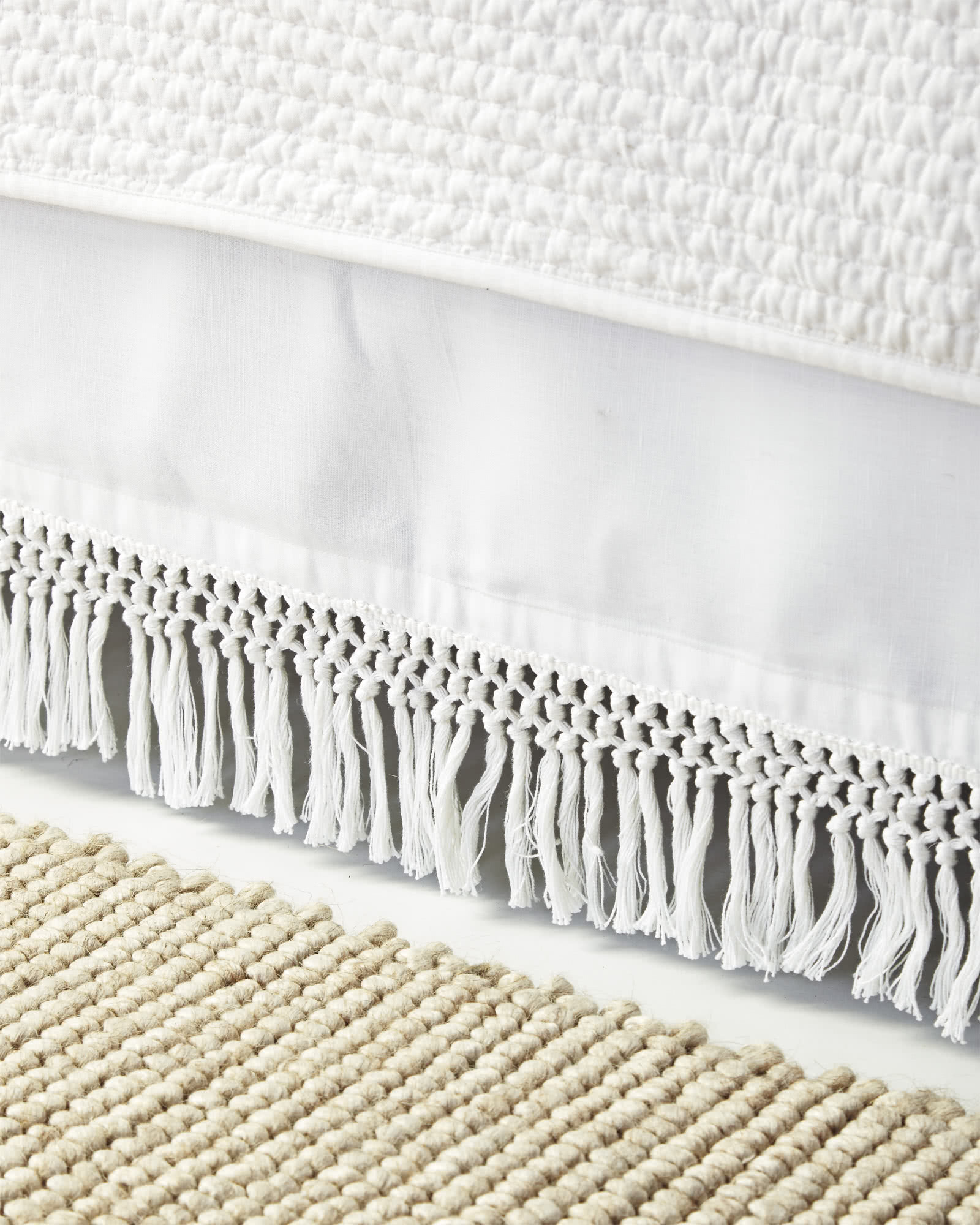 Macramé Bed Skirt, White