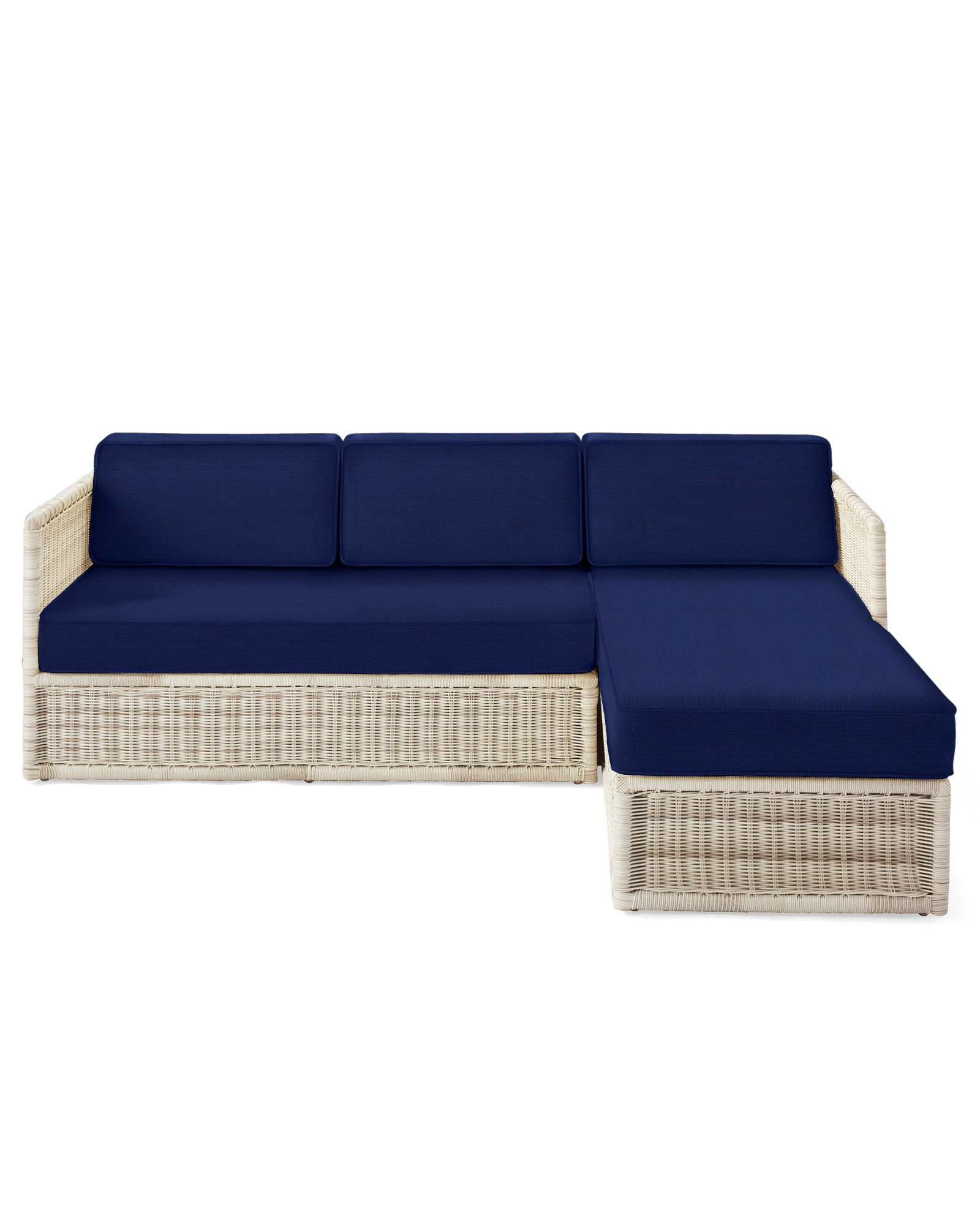Cushion Cover for Pacifica Chaise Sectional, Perennials Basketweave Navy