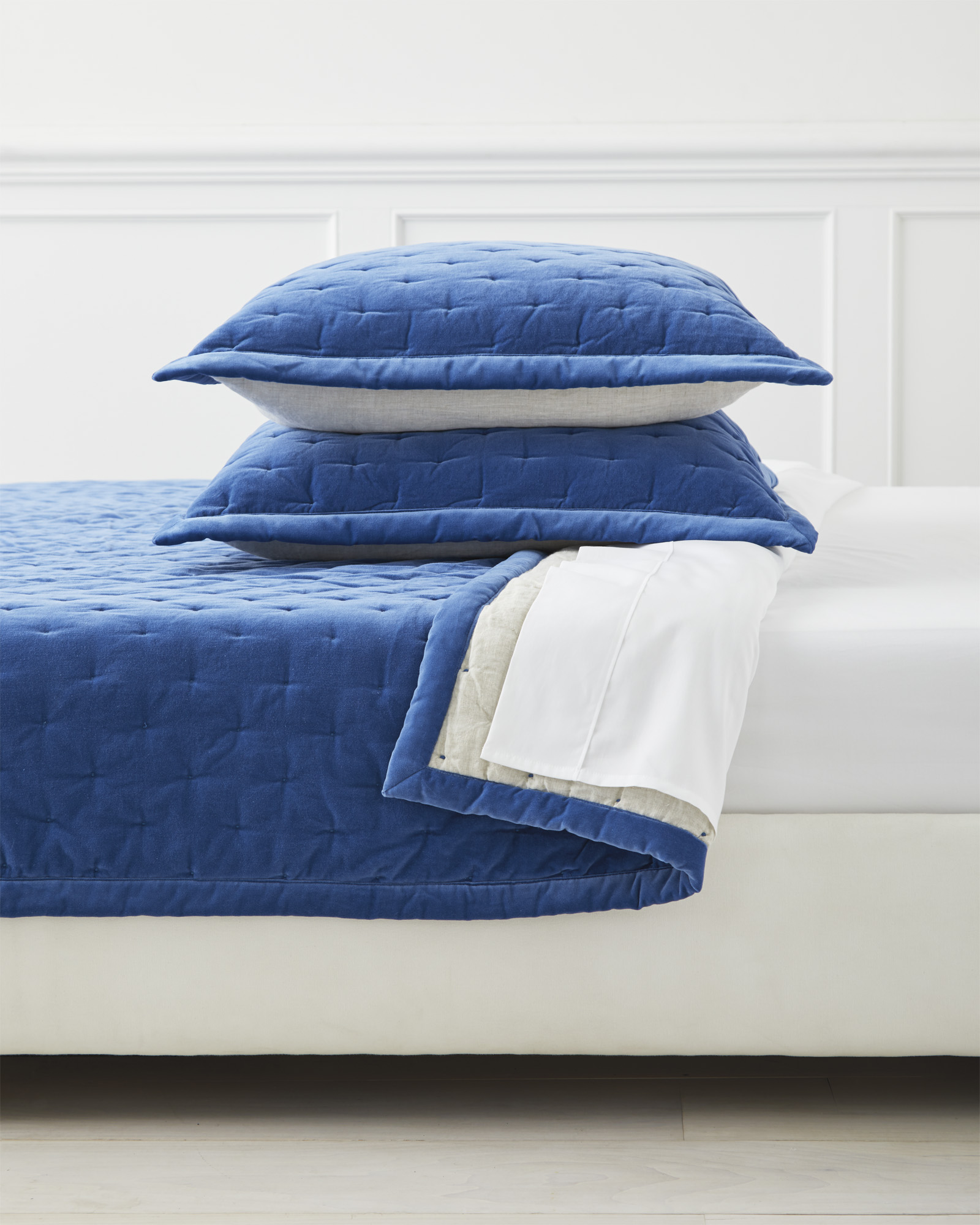 Sutter Velvet Quilt, French Blue