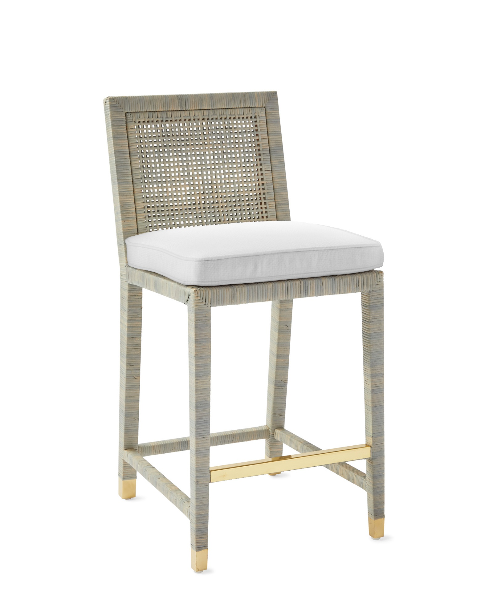 Cushion Cover for Balboa Counter Stool - Mist, Perennials Basketweave White