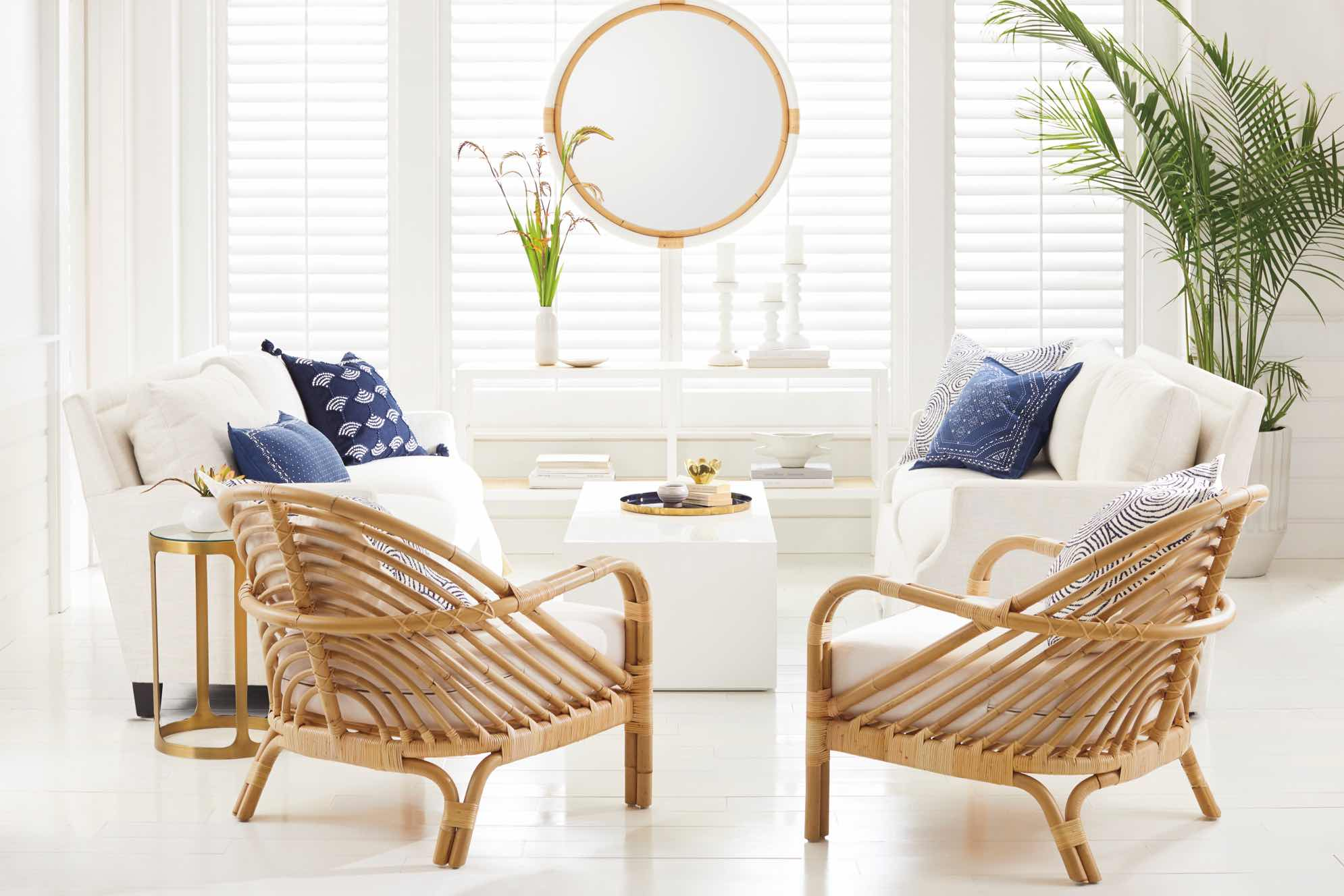 Edgewater Serena & Lily living room with wicker chairs