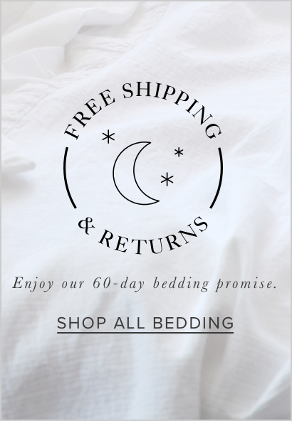free shipping and free returns on all bedding
