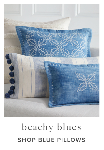 shop blue pillows