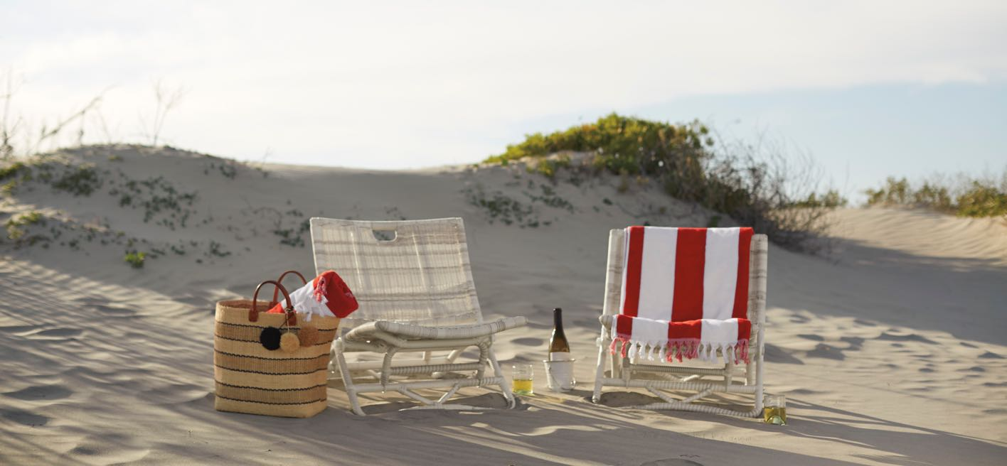 Outdoor beach chair and towels